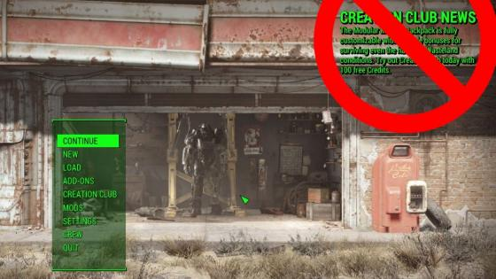 Un mod de Fallout 4 elimina el mensaje de Creation Club News - Publican un mod para eliminar Creation Club de Fallout 4