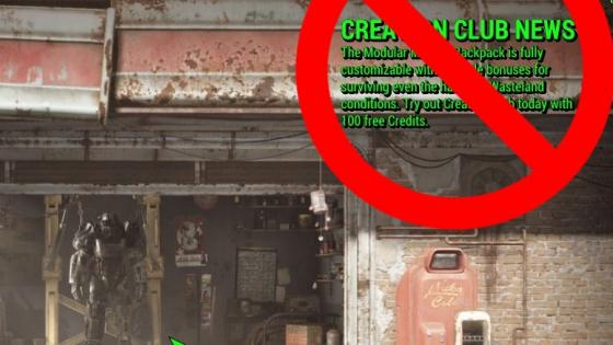 A Mod to Erase Creation Club from Fallout 4 Menu is Published