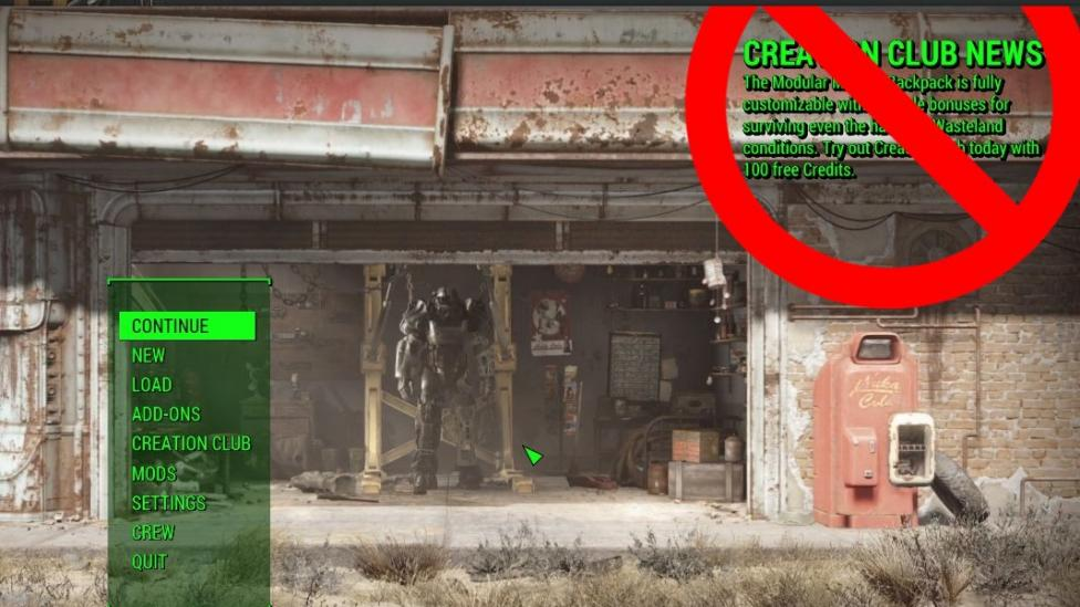 A Fallout 4 mod that erases the Creation Club News Message