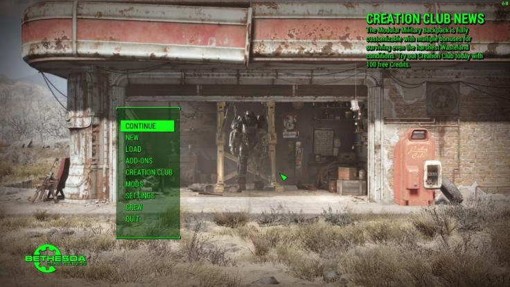 The Fallout 4 menu with the Creation Club News Text