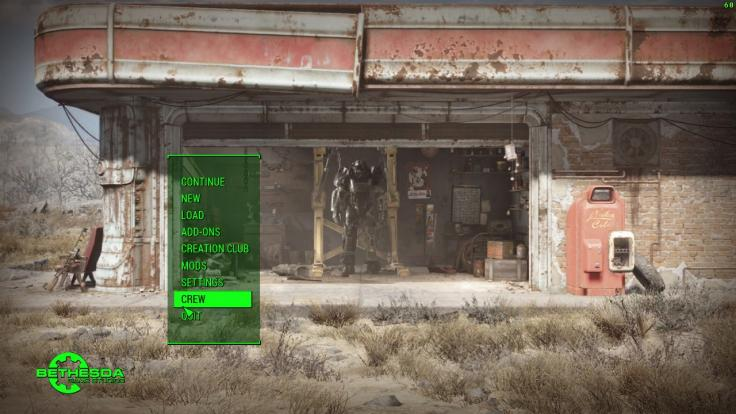 The Fallout 4 menu after applying the mod that makes the Creation Club text disappear