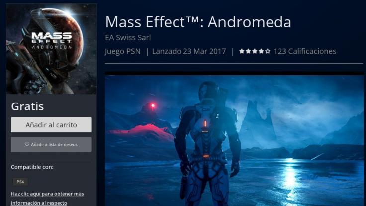 Mass Effect Andromeda estuvo gratis en Playstation Network